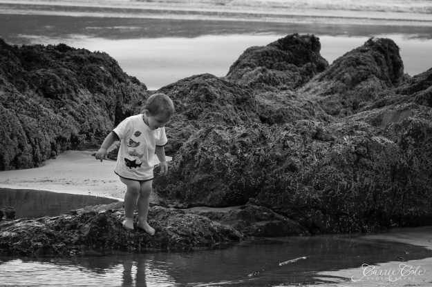 My son sees himself in the tidal pools at San Josef Bay.