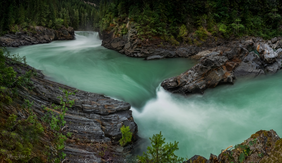 Overlander Falls on the Fraser River in Mount Robson Provincial Park. For those interested in the technical. This is a four shot panorama. I used a Lee Filter Little Stopper to obtain a 13 second exposure to smooth the water.